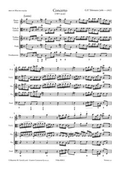 G.P. Telemann, Concerto in A min TWV 52:a1 - Score sample