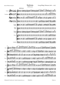 G.P. Telemann, Sinfonia in F major TWV 50 3 - Score sample